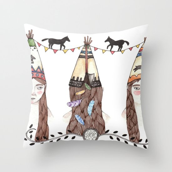 Tipi Party Throw Pillow
