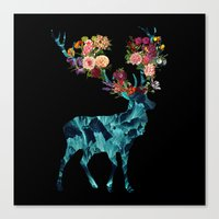 Sprint Itself Deer Floral Dark Canvas Print
