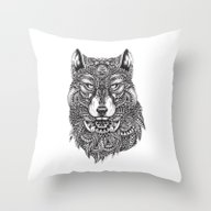 Abstract Wolf Throw Pillow