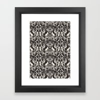 Victorian cat damask Framed Art Print