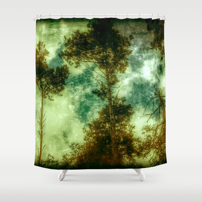 Forest memories in green shower curtain by andrew - Forest green shower curtain ...
