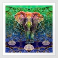 Wandering Elephant Art Print