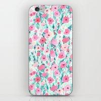 Flower Field Pink Mint iPhone & iPod Skin