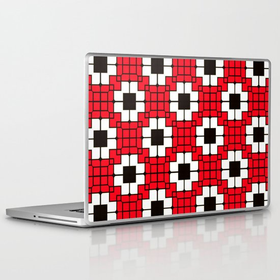 Retro Mosaic Red & Black Laptop & iPad Skin