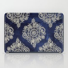 Cream Floral Moroccan Pattern on Deep Indigo Ink iPad Case