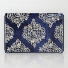 Cream Floral Moroccan Pattern on Deep Indigo Ink iPad Case