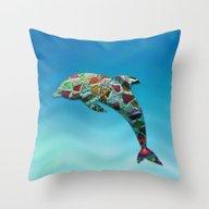 Animal Mosaic - The Dolp… Throw Pillow