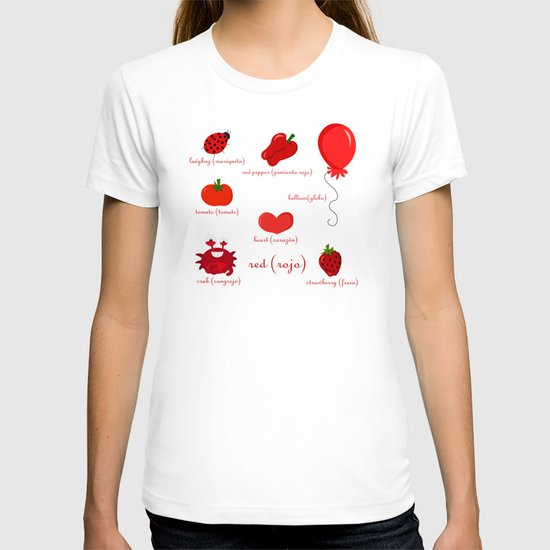 Colors: red (los colores: rojo) T-shirt
