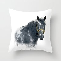 Horse With Golden Bridle Throw Pillow