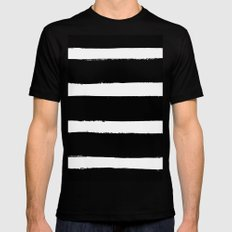 Black & White Paint Stripes by Friztin Mens Fitted Tee Black SMALL