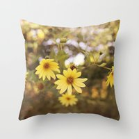 Five Flowers Throw Pillow