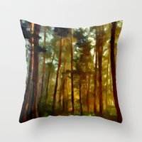 Morning In The Woods - Painting Style Throw Pillow