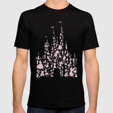 disneyworld castle with characters pink  Black SMALL Mens Fitted Tee