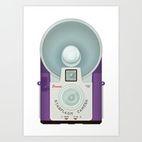 VINTAGE CAMERA PURPLE Art Print