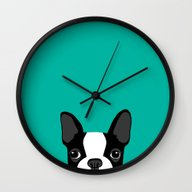 Wall Clock featuring Boston Terrier by Anne Was Here