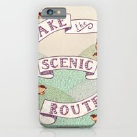 iPhone Cases featuring Take the Scenic Route print by Alli Coate