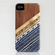 Navy & Gold Tribal On Wo… iPhone (4, 4s) Slim Case