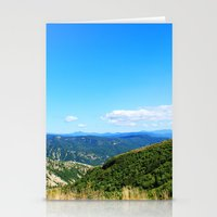 Landscape photography of mountain, blue sky and wild land.  Stationery Cards