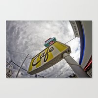 Double R Diner sign in Twin Peaks (Fisheye) Canvas Print