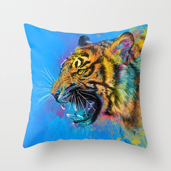 Angry Tiger Throw Pillow