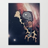 Half Man/Half Fish Riding a Giraffe in Space Canvas Print