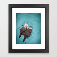 Framed Art Print featuring Otterly Romantic - Otter… by When Guinea Pigs Fly