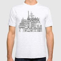 Paris toile gold Mens Fitted Tee Ash Grey SMALL