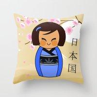 Kokeshi Mizuki Throw Pillow