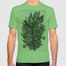 Zen Tangle Feather Mens Fitted Tee Grass SMALL