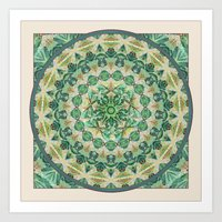 Luna Moth Meditation Mandala Art Print