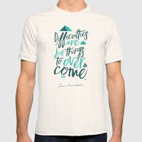 Shackleton Quote on Difficulties - Illustration Mens Fitted Tee Natural SMALL