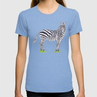 Zebra Sketch Womens Fitted Tee Tri-Blue SMALL