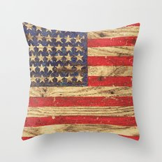 Vintage Patriotic American Flag on Old Wood Grain Throw Pillow