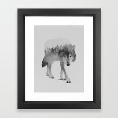Wolf In The Woods (black… Framed Art Print