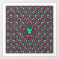 Oh Deer (teal Dark) Art Print