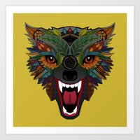 wolf fight flight ochre Art Print