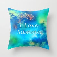 Cosmic clouds in bluel I love Summer Throw Pillow