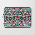 Pink Turquoise Girly Aztec Andes Tribal Pattern Laptop Sleeve