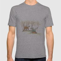 An Autumn Fall Scene - A Fawn and a Young Boy Mens Fitted Tee Athletic Grey SMALL