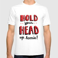 Head Up Mens Fitted Tee White SMALL