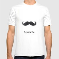 Mustache Mens Fitted Tee White SMALL