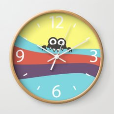 Yummy Colorful Stripes Cute Cartoon Character Wall Clock