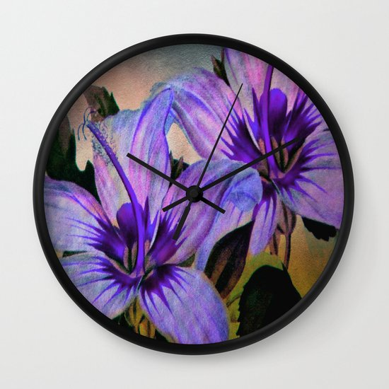 Vintage Painted Lavender Lily Wall Clock