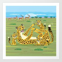 Cheetahs And Gazelles Art Print