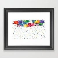 Rainbow raindrops Framed Art Print