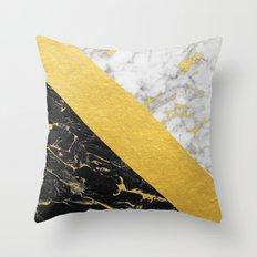 Marble Mix // Gold Flecked Black & White Marble Throw Pillow