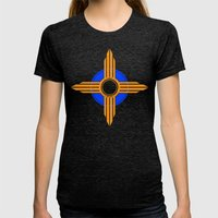 New Mexico Zia - Blue Womens Fitted Tee Tri-Black SMALL