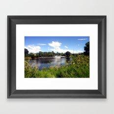 Moored boat on the Thomson River Framed Art Print