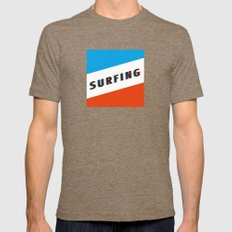 SURFING 3D - Square Mens Fitted Tee Tri-Coffee SMALL