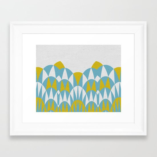 Modern Day Arches Blue and Yellow Framed Art Print